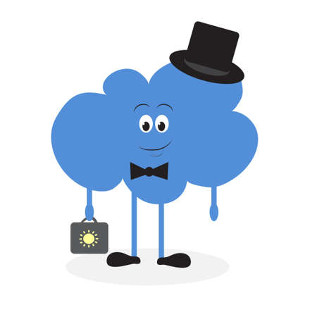 interactions: Lively cloud with a suitcase in hand, with his hat in the shoes. fun. Illustration