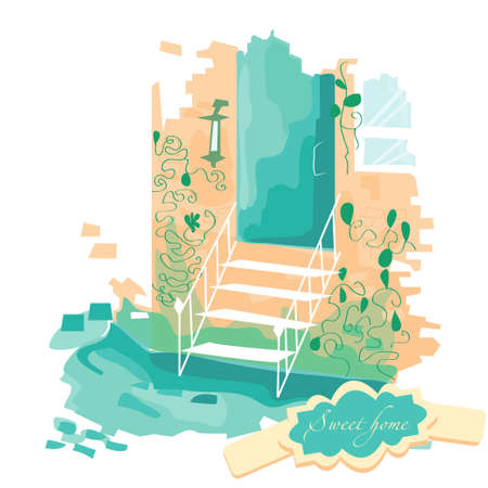 farmstead: Vector illustration. sweet home. Stairs leading to the door. The building is in the colors. Porch.