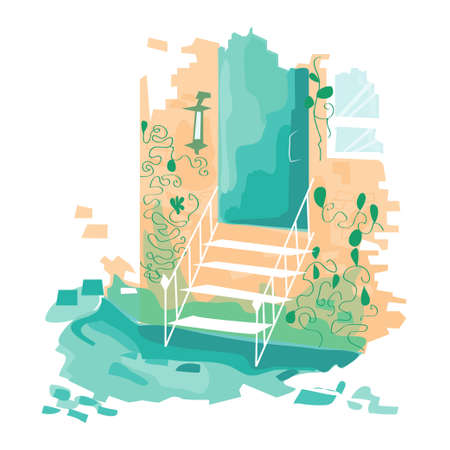 Vector illustration. Stairs leading to the door. The building is in the colors. Porch. Vector