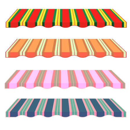 marquee tent: detailed illustration of set of striped awnings. Vector. Roof. Colored.