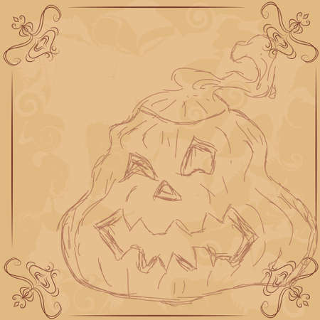 Illustration for Halloween, Pumpkin. Card for records. Vector