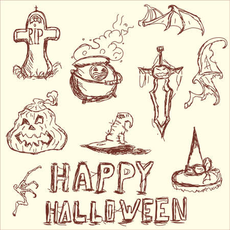 krill: Vector illustration. The elements of Halloween. Potion cauldron, pumpkin, hat, witch, headstone, funeral.