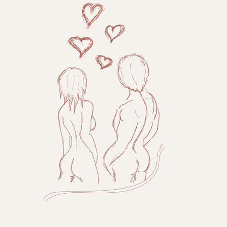 Silhouette sketch summer women and men. steam. love, valentines day, hearts around them. white background Vector