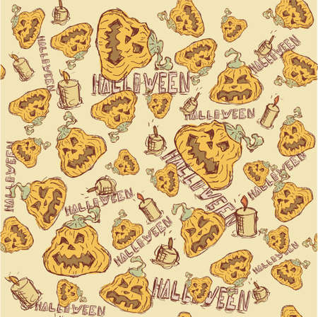 Halloween background. vector illustration. Seamless texture of pumpkin. Vector