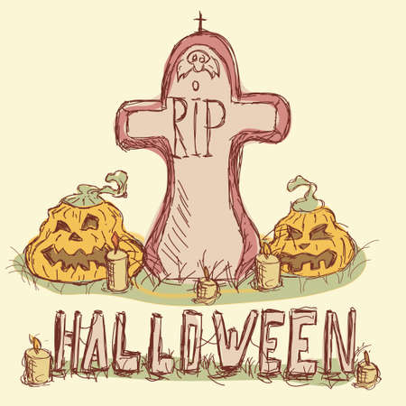Vector illustration. Tombstone with pumpkins and candles. Happy Halloween. Vector