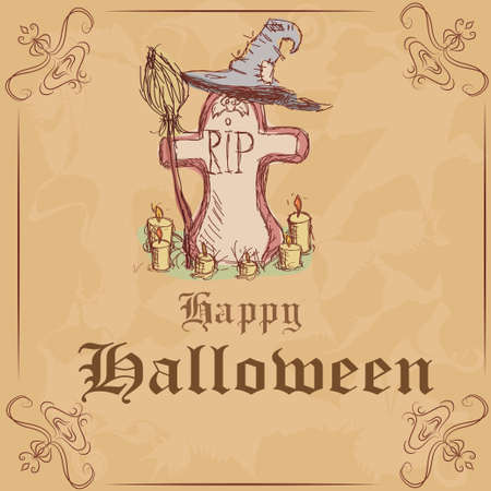 Vector illustration. Gravestone with a witch hat and broom and candles. happy Halloween Stock Vector - 22972888