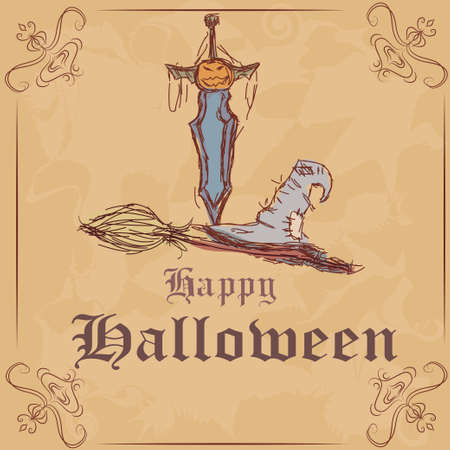 vector illustration. Happy Halloween, witch hat and broom. knife with a pumpkin. Vector