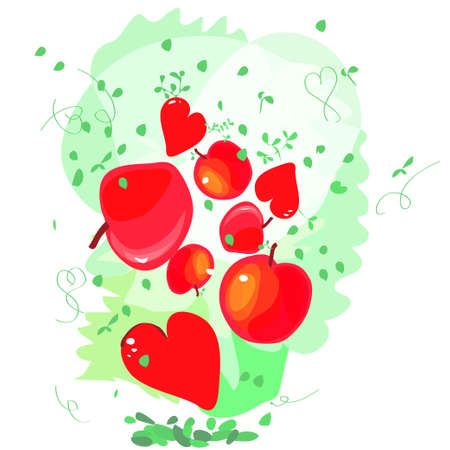cute design greeting cards for Valentines Day with hearts and apples Vector