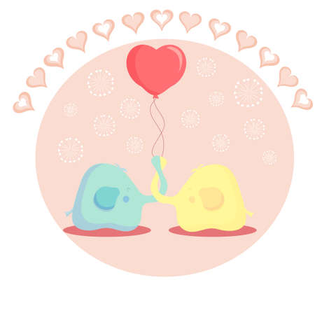 Two elephant holding a ball of love. heart. valentines day. card. vector. Vector