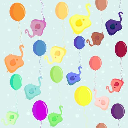 elephant flying in a balloon. vector. seamless texture. Vector