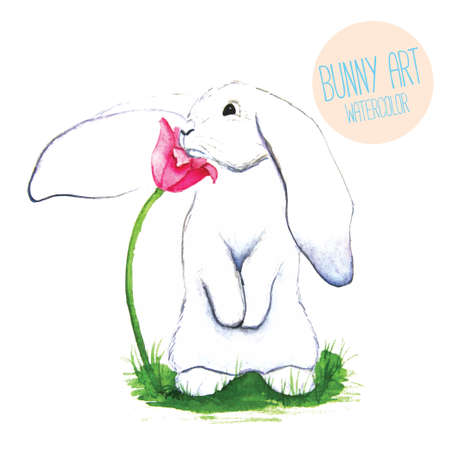 nature one painted: White Rabbit. Watercolor Easter art print. Vector hand drawn illustration in vintage style. Illustration