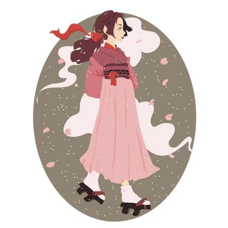geisha kimono: vector illustration of a japanese geisha kimono