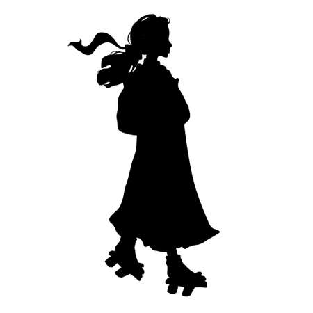 siluet: siluet japanese girl in traditional clothes. Vector illustration.