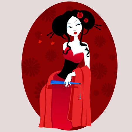 illustrazione di una bella geisha in abito rosso con ventola in mano. donna molto dolce e passionale con fiori tra i capelli. Adatto per i biglietti da visita e volantini. menù giapponese. su uno sfondo bianco Vettoriali