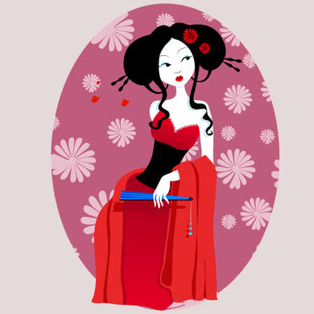red dress: illustration of a beautiful geisha in red dress with fan in hand. very gentle and passionate woman with flowers in her hair. Suitable for business cards and flyers. Japanese menu. on a white background