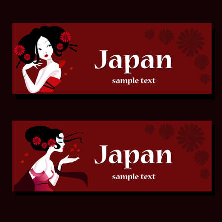 long black hair: template business cards with the face of a beautiful girl with long black hair and flowers. Illustration