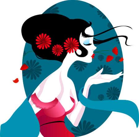 illustrazione di una bella geisha in abito rosso. donna molto dolce e passionale con fiori tra i capelli. Adatto per i biglietti da visita e volantini. menù giapponese. su uno sfondo bianco
