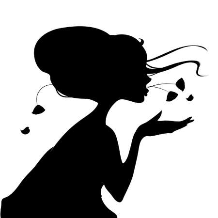 geisha kimono: vector illustration silhouette of a geisha in a kimono with a fan