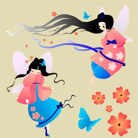 developing: Collections of vector silhouettes of a fairy with wings, and developing hair in a pink dress was lovely.