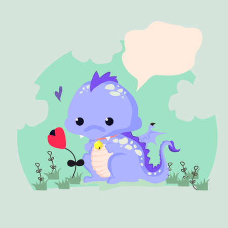 the children s: Fun vector illustration of a cute dinosaur with a flower. Suitable for children s cards. Illustration