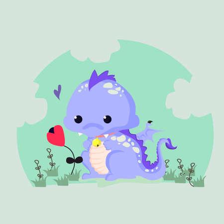 Fun vector illustratie van een schattige dinosaurus met een bloem. Geschikt voor kinderen s kaarten. Stock Illustratie