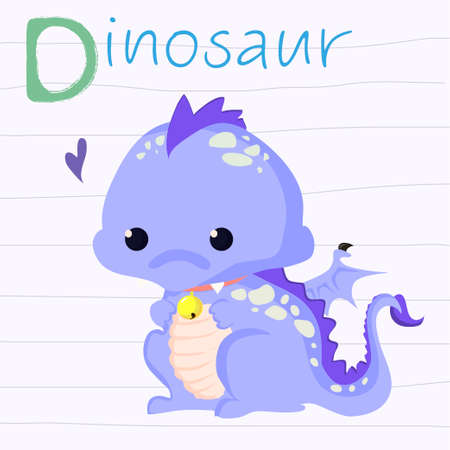 children s: Fun vector illustration of a cute dinosaur with a flower. Suitable for children s cards. Illustration