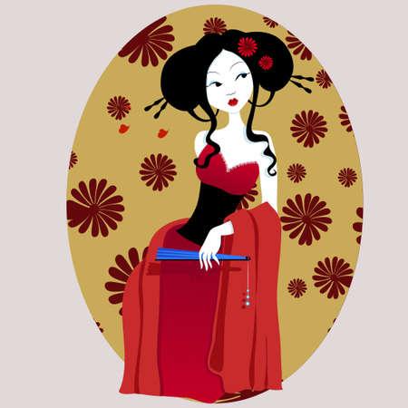 illustrazione di una bella geisha in abito rosso con ventola in mano. donna molto dolce e passionale con fiori tra i capelli. Adatto per i biglietti da visita e volantini. menù giapponese. su uno sfondo bianco