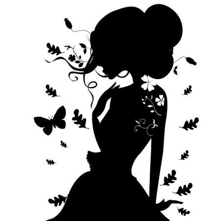 autumn woman: elegant silhouette of the girl in autumn leaves. vector illustration. Illustration