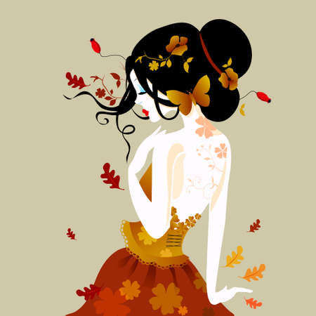 autumn woman: Vector illustration of a cute woman in autumn dress with autumn leaves. in shades of brown. Well suited for a card or calendar.