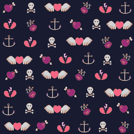 Pattern with Hearts, Roses and Ancors Vector