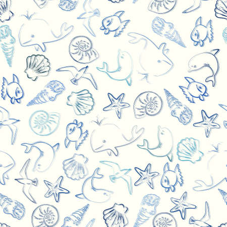 Vector seamless pattern with fishes, whales and seashells Vector