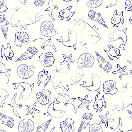 tropical fish: Hand drawn grungy seamless pattern with shells and fishes