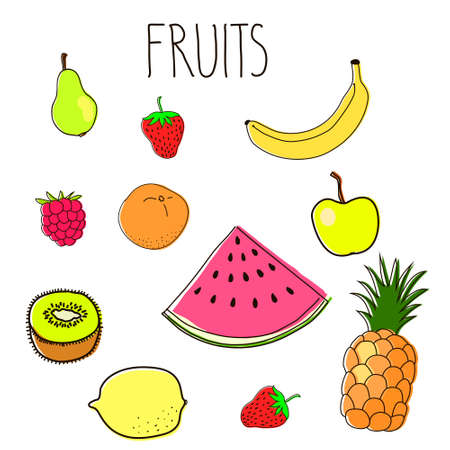 Hand drawn vector illustration of fruits Vector