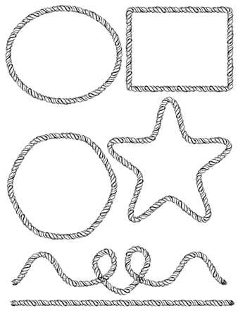 cordage: Set of hand drawn rope frames. Vector illustration