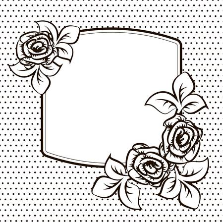 temlate: Frame temlate with roses for a card Illustration