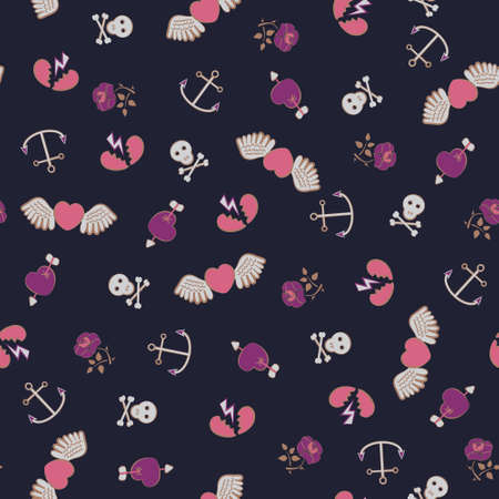 Seamless  pattern with sculls and hearts Vector