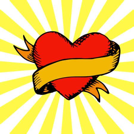 Oude-stijl tattoo hart met lint