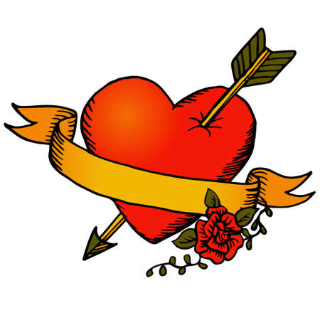 Classic tattoo vector heart and ribbon Vector