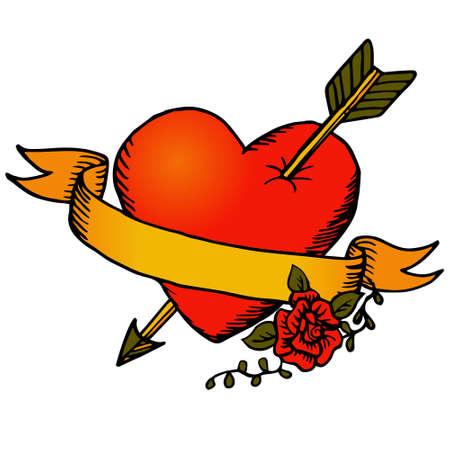 Klassieke tattoo vector hart en lint Stock Illustratie
