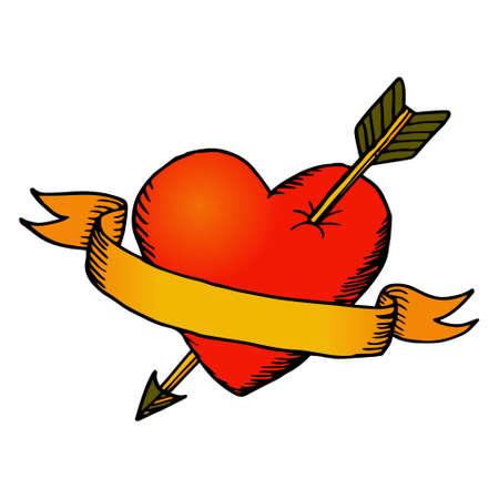 Retro hart met lint Stock Illustratie