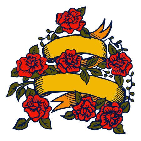 tatouage oiseau: Ruban de tatouage old-school avec des roses