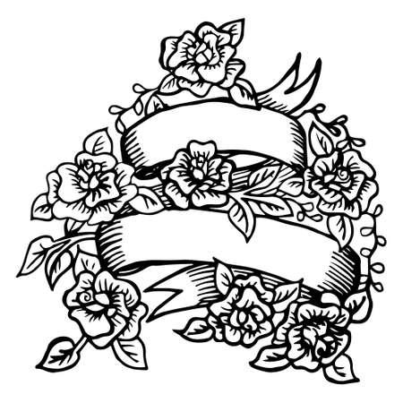 Hand-drawn lint met rozen Stock Illustratie