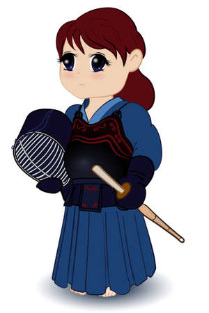 kendo: Chibi Female Kendoka Illustration
