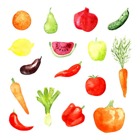 Watercolor fruit and vegetable icons, vector illustration, aubergine, carrot, cucumber, watermelon Ilustração