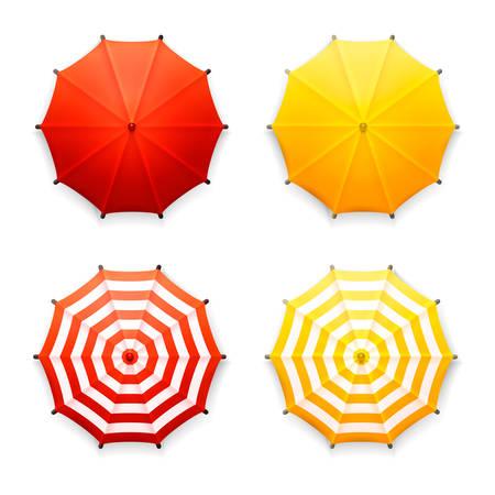 cảnh quan: Vector bộ bốn ô dù bãi biển màu đỏ, màu vàng và sọc cô lập, nhìn từ trên xuống, trên màu trắng