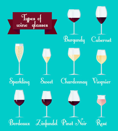zinfandel: Types of glasses infographic. Set of flat minimalist icons: Bordeaux, Chardonnay, Bordeaux, Viognier, Cabernet, Zinfandel and other red and white wines
