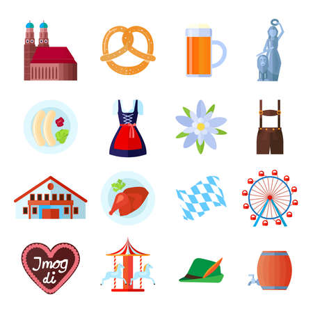 lederhosen: Set of Oktoberfest vector icons: Munich symbols, tent, beer and food, traditional clothing and carousel wheel with Bavarian symbols Illustration
