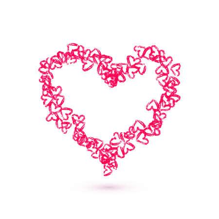 Hand getrokken harten vector illustratie. Valentijnsdag kaart template