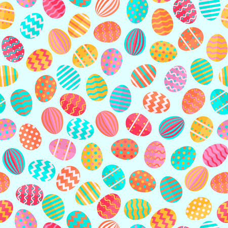 Trendy platte design stijl kleurrijke easter eggs naadloze patroon