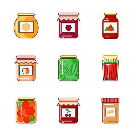 food preservation: Set of glass jars with honey, homemade jam, marmalade, peppers, pickles, tomatoes, vegetables.